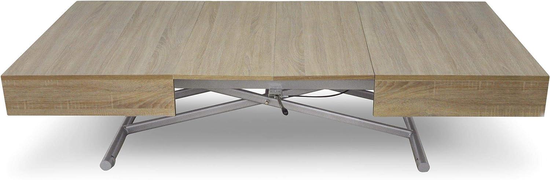 Blanc Jeffordoutlet Table Basse Pliable Multifonction rectangulaire r/églable et Extensible Table de Salle /à Manger Bureau dordinateur Moderne cr/éatif Blanc Salon Cuisine Mobilier dext/érieur