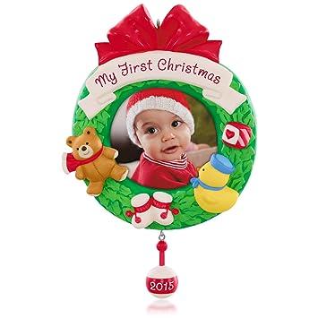 amazoncom hallmark keepsake ornament my first christmas photo frame holder for baby home kitchen