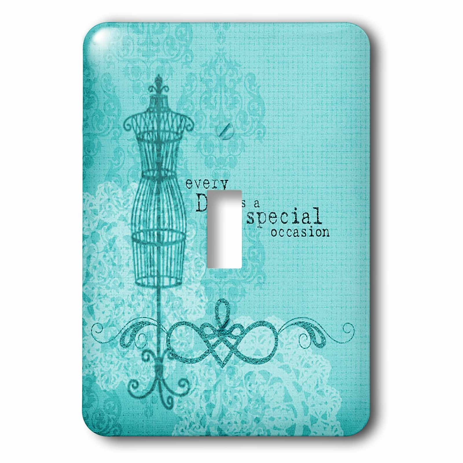 3dRose lsp_168037_1 Everyday is a Special Occasion in Turquoise Light Switch Cover
