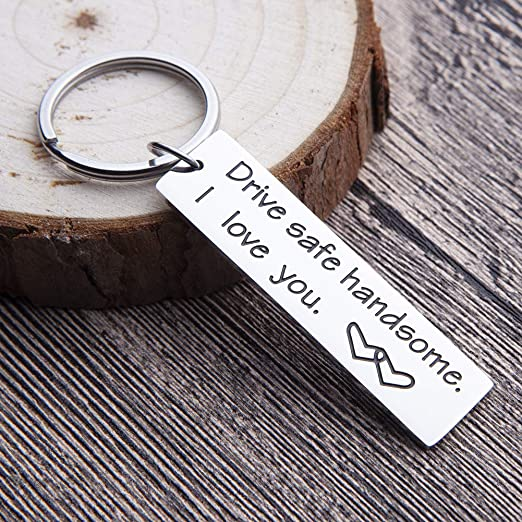 Drive Safe Keychain For Men Personalized Key Ring Gifts Dog Tag Inspirational Best Birthday