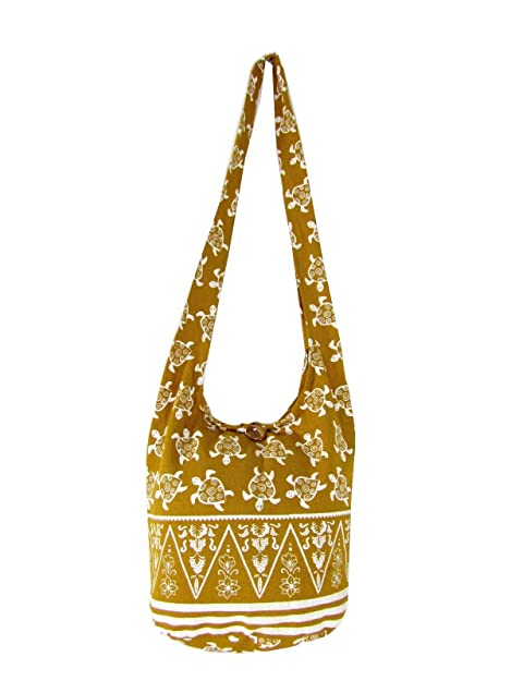Amazon.com  Fully Lined Sea Turtle Crossbody Bag Hippie Hobo Shoulder Thai  Boho Sling Purse for Women Medium (Lined Dijon Yellow)  Shoes 29b510d22fc98