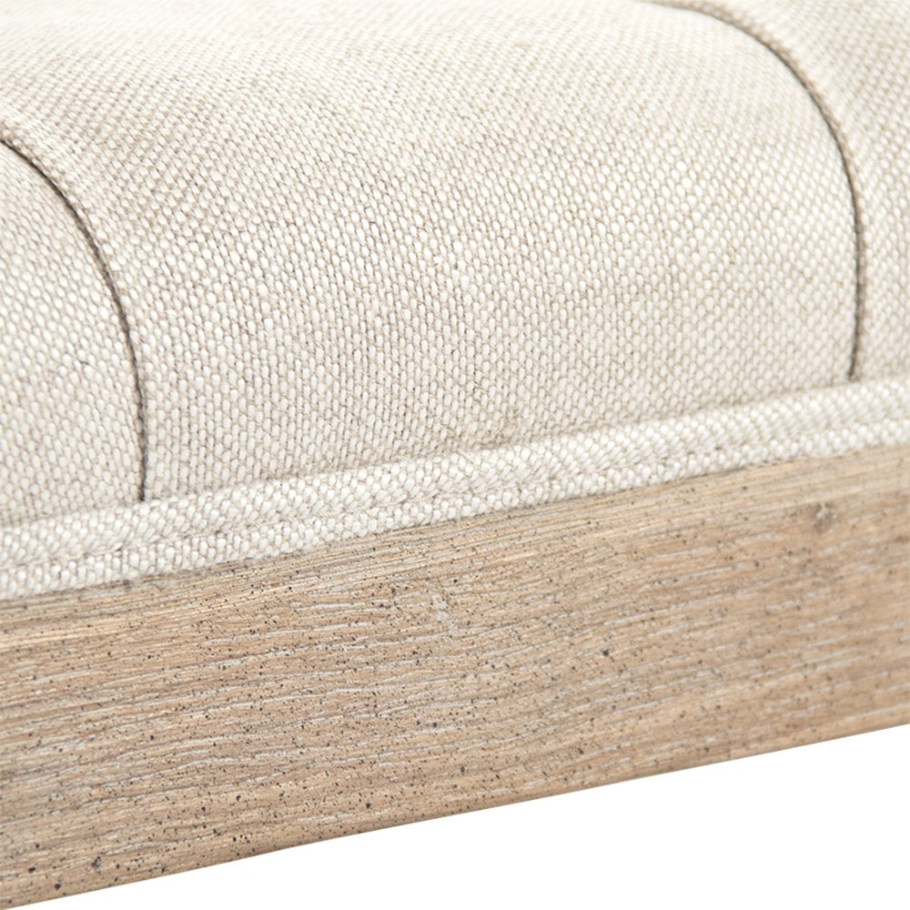 Square Tufted Linen Limed Grey Elm Coffee Table Ottoman by Kathy Kuo Home (Image #5)