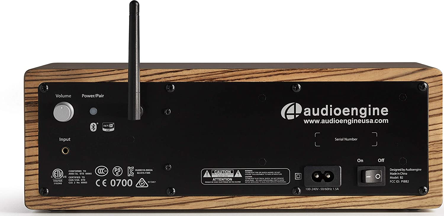 Audioengine B2 Bluetooth Speaker, Premium Wireless Speaker for Home Use, Zebrawood