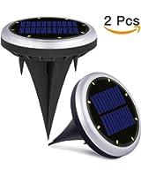 Luces Solares de Tierra Luces de 8 led para Exterior de Energía Solar IP65 Resistentes al Agua Llumina el Paisaje del Jardín en el Hogar, Patio, Entrada de Garaje, Césped, Decoración de Camin