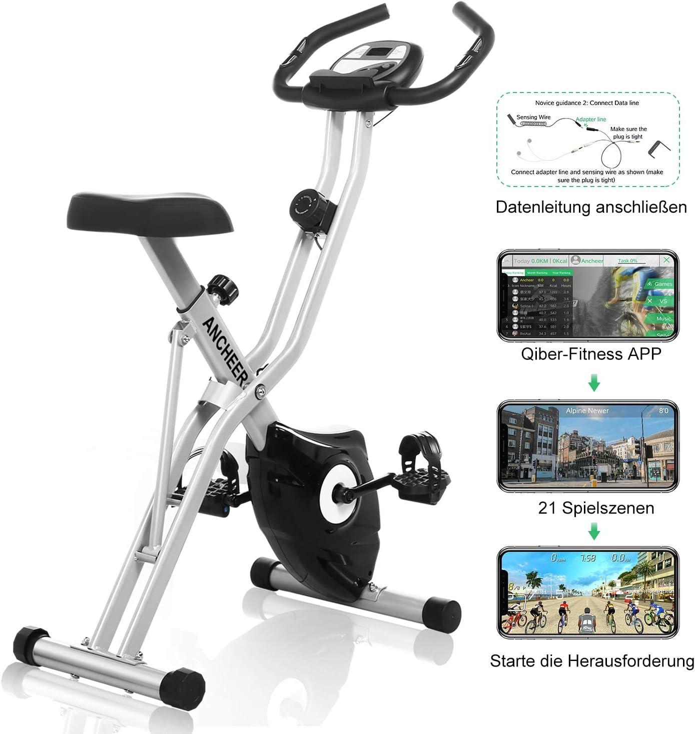 Profun Bicicleta Estática Plegable Xbike de Fitness con Monitor/Sillín Cómodo/Soporte para Tableta/App 10 Niveles Resistencia Magnética Ajustable para Ejercicio Entrenamiento en Casa, Gris: Amazon.es: Deportes y aire libre