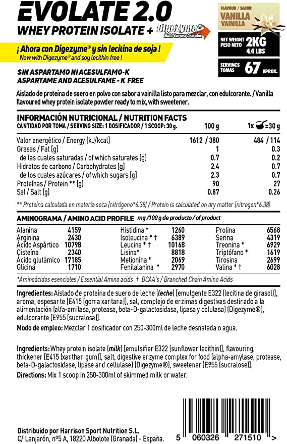 Aislado de Proteína de Suero de HSN Evolate 2.0   Whey Protein Isolate   Proteína CFM + Enzimas Digestivas (Digezyme) + Ganar Masa Muscular   ...