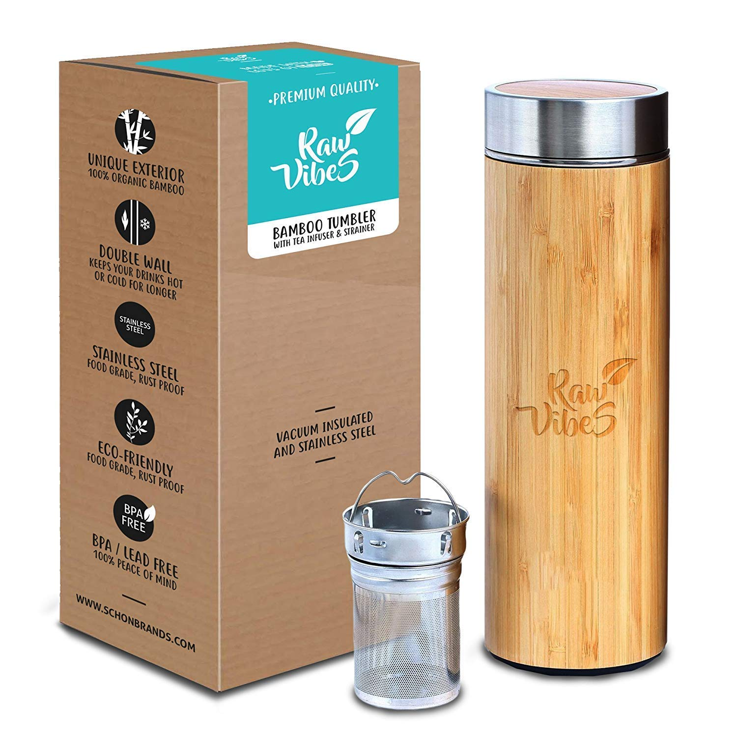 Original Bamboo Tumbler with Tea Infuser & Strainer by Raw Vibes | 17oz Stainless Steel Water Bottle | Insulated Coffee Travel Mug | Gift For Tea Lovers | Mesh Filter for Brewing Loose Leaf | BPA-Free