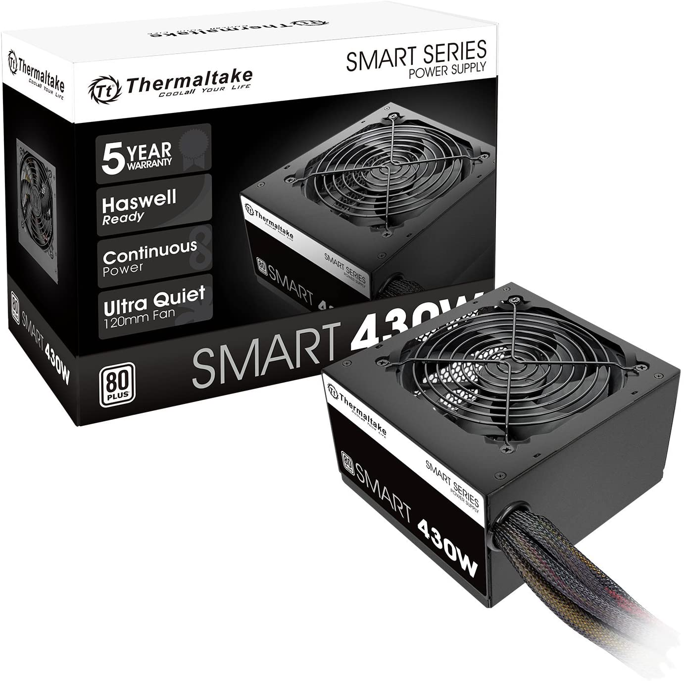 Thermaltake Smart 430W 80+ White Continuous Power ATX 12V V2.3/EPS 12V Active PFC Power Supply PS-SPD-0430NPCWUS-W