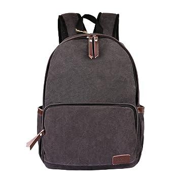 OXA Canvas Backpack School Bag Laptop Bag Computer Bag Daypack Black a030f1eb18bb2