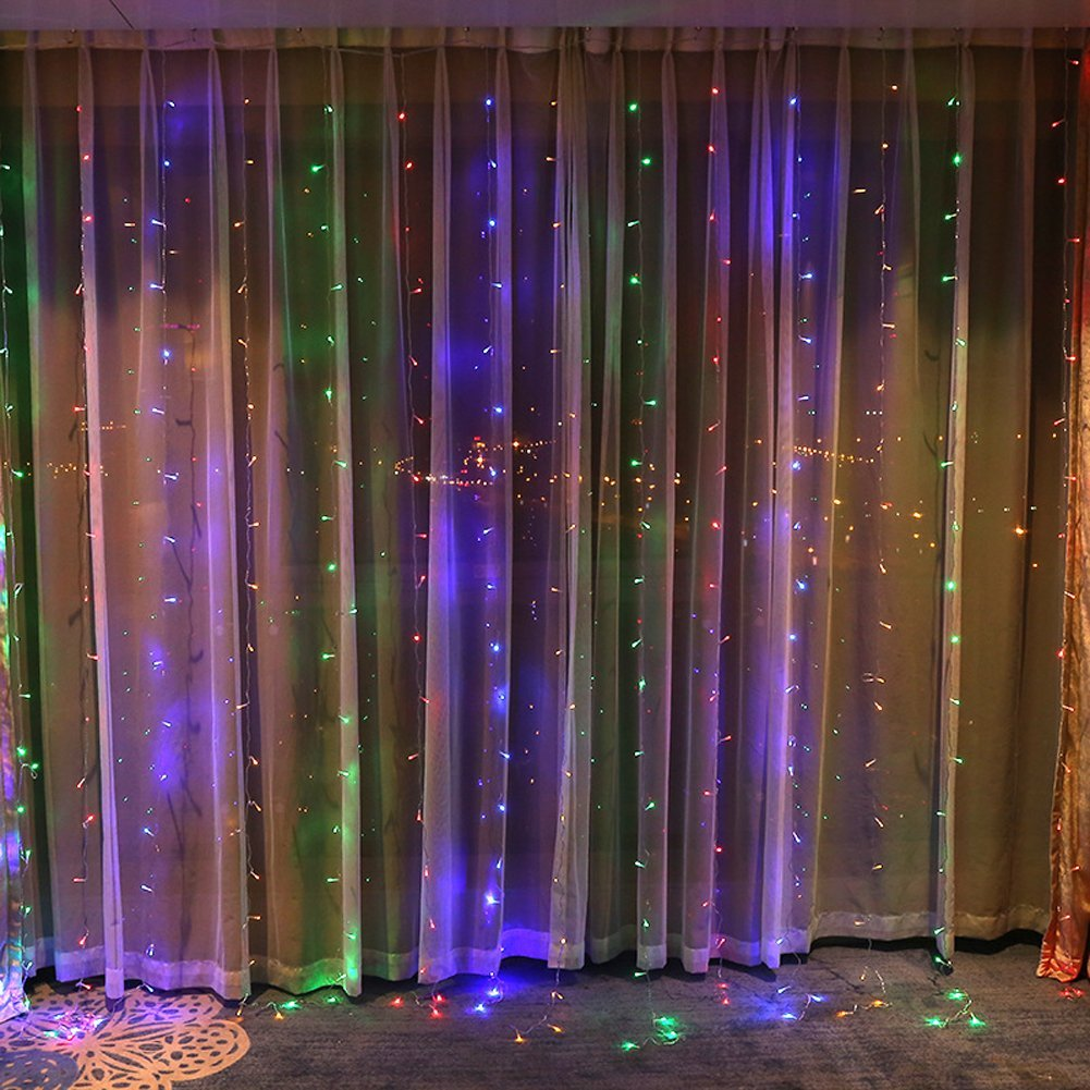 BlueSpace Outdoor LED String Lights Waterproof Window Curtain Lights Indoor Fairy Light 10ft for Xmas Wall Garden Home Decor Patio Lawn Wedding Halloween Party (Multi Color)