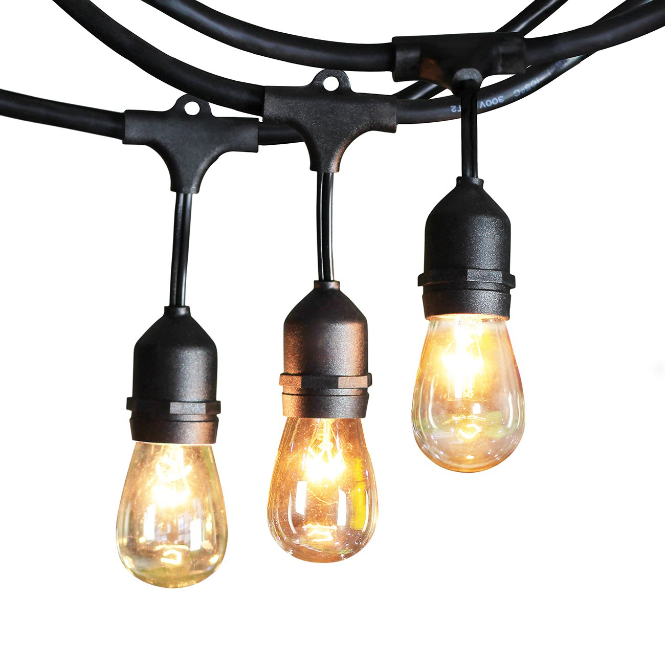 SHINE HAI 48-Foot Weatherproof Outdoor String Lights - UL-listed Commercial Grade - 24 Hanging Sockets- Perfect Patio Lights & Party Lights-Black- 26 11S14 Incandescent Bulbs Included