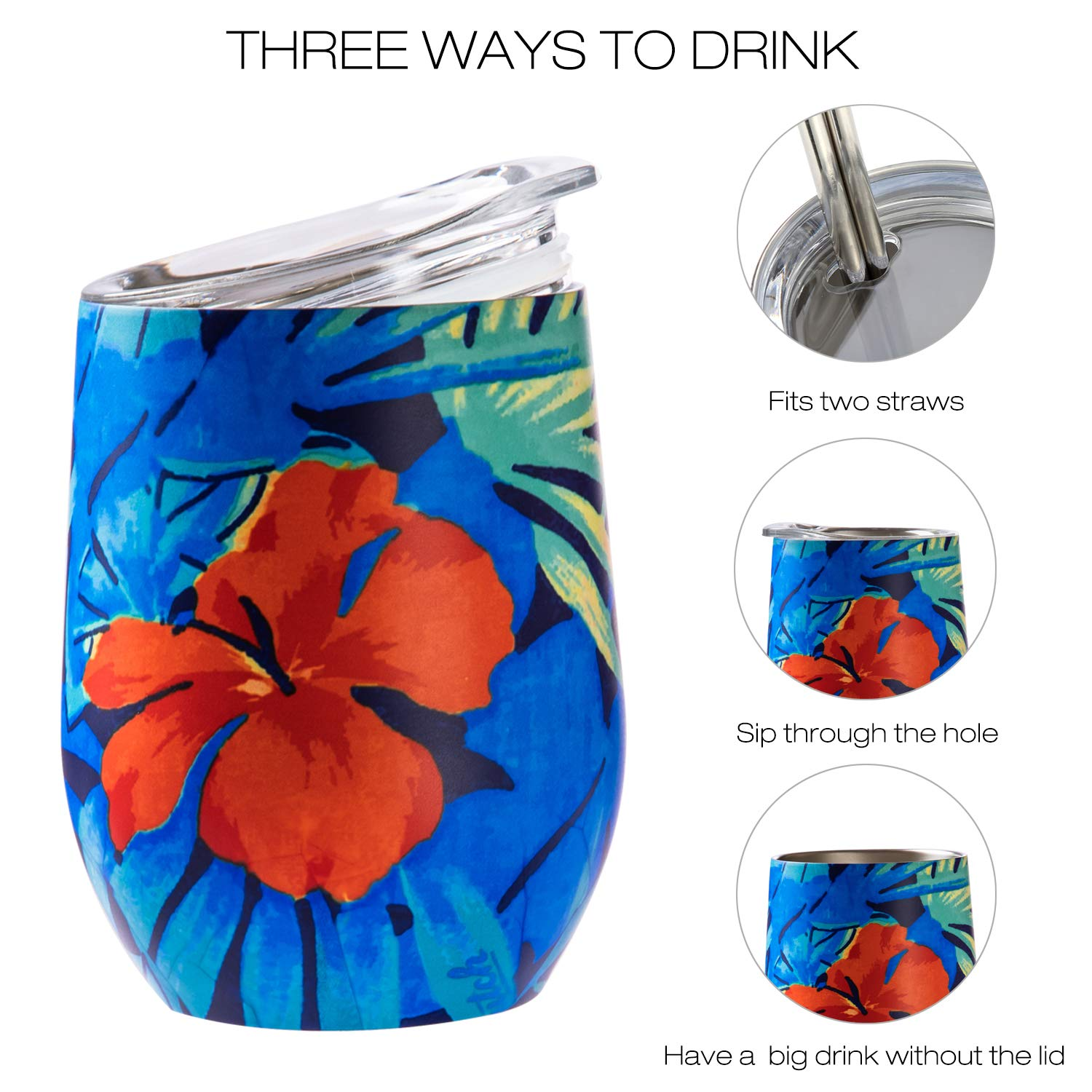 Azalea Pattern Coffee MKHS Double Wall Vacuum Insulated Stainless Steel Wine Tumbler with Lids for Wine 12 oz Drinks Cocktails Champagne