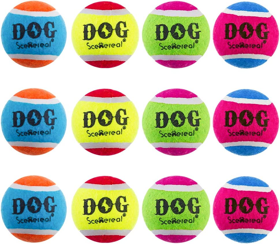 SCENEREAL Squeaky Dog Tennis Balls 12 Packs - 2.5 Inches Standrad High Bounce Tennis Ball Toys Non-Toxic Colorful, Great Interactive Toys for Small Medium Large Dogs Training Playing
