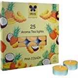 Iris Aroma Tealight Pinacolada Wax Candle (19.1 cm x 1.7 cm x 19 cm, Yellow, Set of 25)