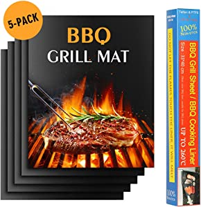 LIANTRAL Grill Mats, Set of 5 Non-Stick BBQ Mat Reusable Baking Mat for Grilling, Barbecue Grill Accessories, 15.75 x 13 inches, Black