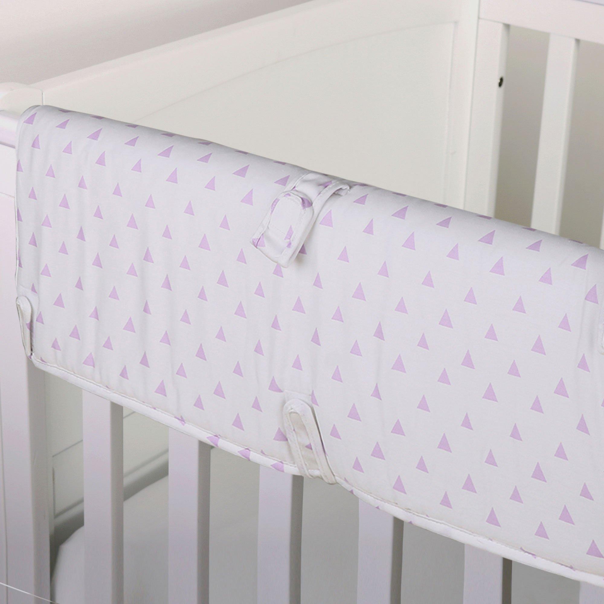 Purple Triangle Print 100% Cotton Padded Crib Rail Guard by The Peanut Shell