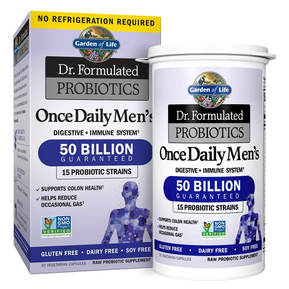 Garden of Life Dr. Formulated Once Daily Men's Shelf Stable Probiotics  15 Strains - 50 Billion CFU Guaranteed Potency to Expiration - Gluten Dairy & Soy Free One a Day, Prebiotic Fiber, 30 Capsules by Garden of Life