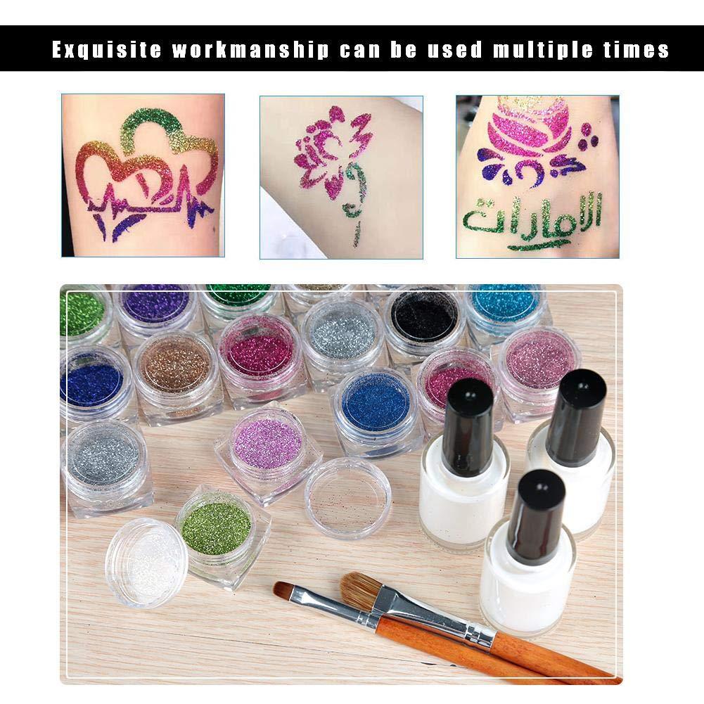 Tattoo Powder Diamond Colorful 3D Glitter Kit,Shimmer Tattoo and Nail Art 3D Decoration Waterproof Body Tattoo Art Paint with Stencil Brush by ZJchao (Image #6)