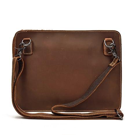 fb88114ffc995f Luufan Borsa a Tracolla in Vera Pelle per iPad con Cinghia Rimovibile e  Cinturino da Polso
