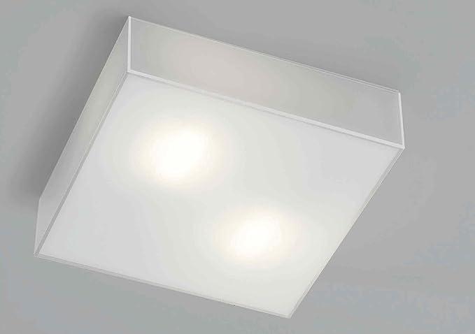 Plafoniera Quadrata Vetro : Plafoniera da bagno ip Ø moderna quadrata vetro bianco lucido