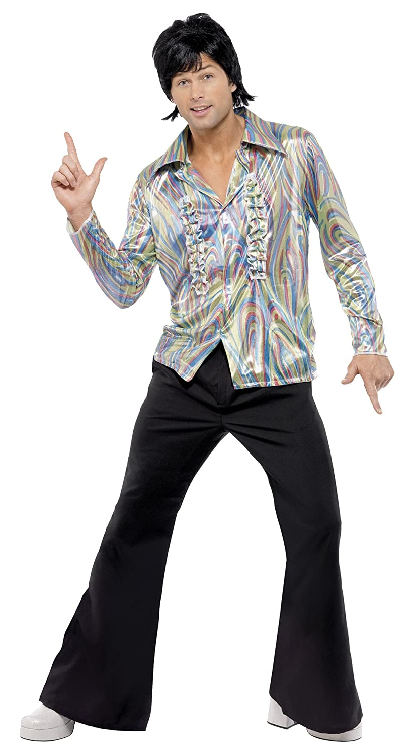 Amazon.com Smiffy\u0027s Men\u0027s 70S Retro Costume with Psychedelic Pattern Shirt  and Flares Clothing