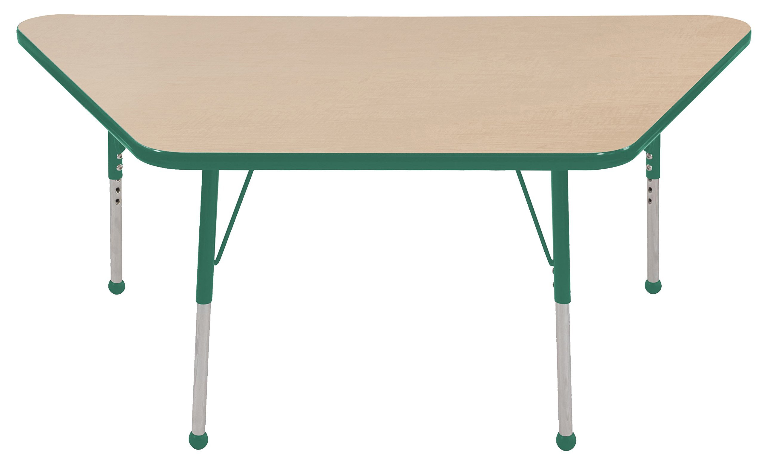 ECR4Kids Mesa T-Mold 30'' x 60'' Trapezoid School Activity Table, Toddler Legs w/Ball Glides, Adjustable Height 15-23 inch (Maple/Green) by ECR4Kids