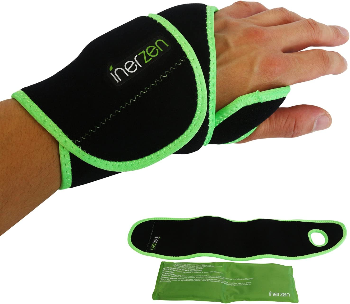 Inerzen Wrist Support Hot and Cold Gel Therapy Wrap - Includes Hot or Cold Gel Pack for Pain Relief - Microwavable, Freezable, Reusable (One Size Fits All)