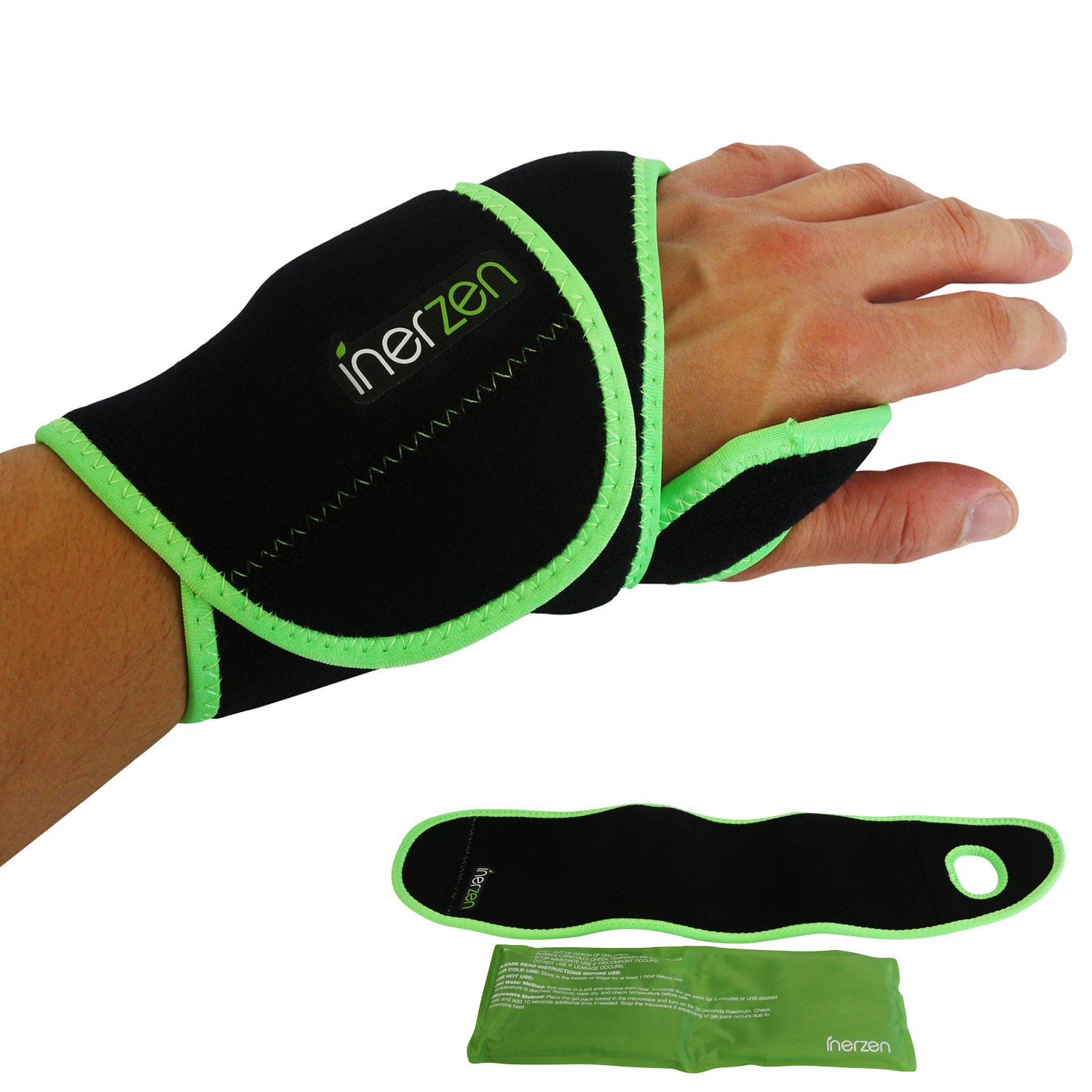 Inerzen Wrist Support Hot and Cold Gel Therapy Wrap - Includes Hot or Cold Gel Pack for Pain Relief - Microwavable, Freezable, Reusable (One Size Fits All) by Inerzen