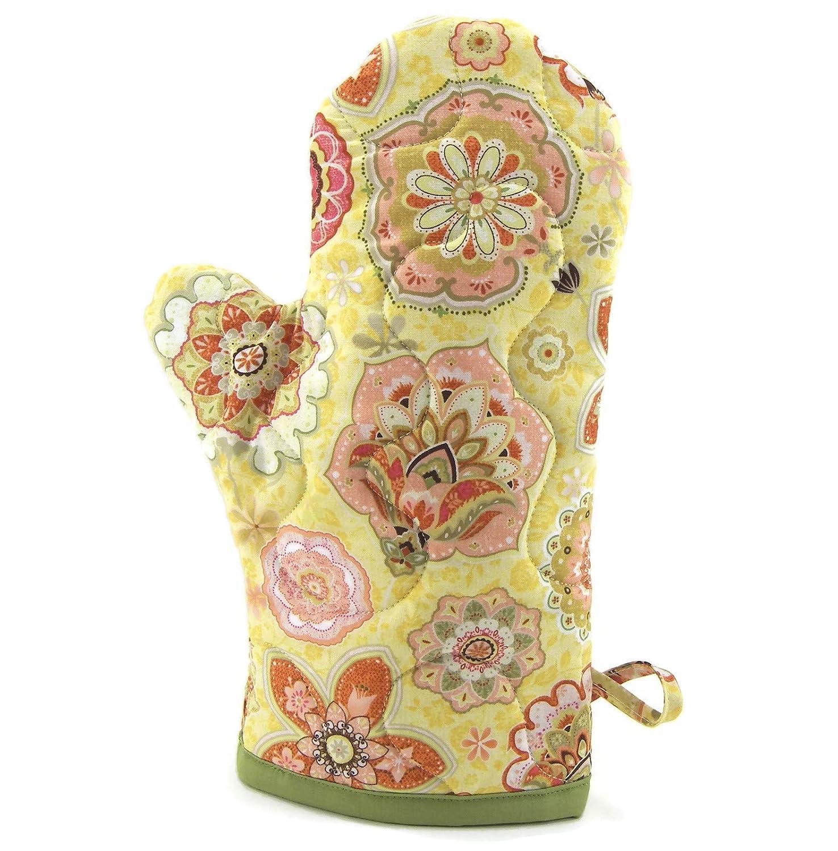 Cotton Fabric Oven Mitt, Insulated Pot Holder - Yellow and Green Floral - Flower Pot Holder