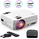 """LATOW Mini Portable Projector with 2200 Lumens, Support HD 1080P, FHD Home Video Projector with 170"""" Display Home Theater Projector Compatible with TV HDMI, VGA, USB, AV, PS4, TF with Carrying Bag"""
