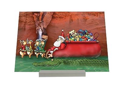 Soporte Fotografias Cartoon Arte Divertido Santa en vacaciones Letrero