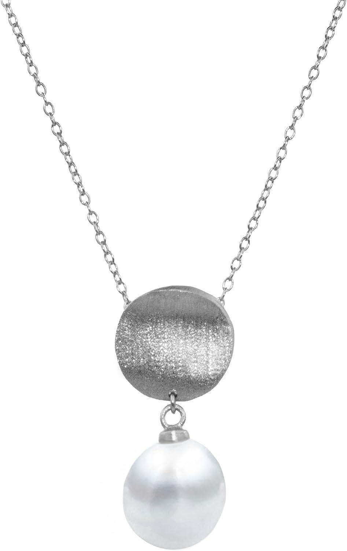 Secret & You Collar de Perla Cultivada de Agua Dulce Cadena y Colgante de Plata de Ley de 925 milésimas Rodiada o Bañada en Oro Perla Tipo Gota de Agua de 9 a 10 mm - 40 o 45 cm de Largo.