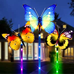 Solar Lights Outdoor, 3 Pack Decorative Solar Butterfly Lights with Waterproof Fiber Optic Butterfly Decorative Lights for Path, Lawn, Patio, Garden