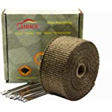LEDAUT 2' x 25' Titanium Exhaust Header Wrap for Motorcycle Exhaust Tape with Stainless Ties