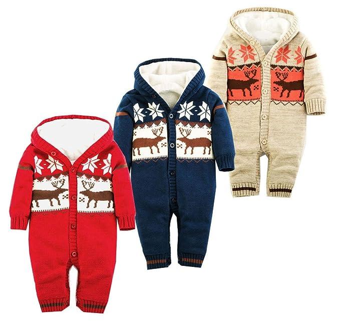 aodilis Unisex-Baby con capucha Pelele de punto algodón Onesie pijama