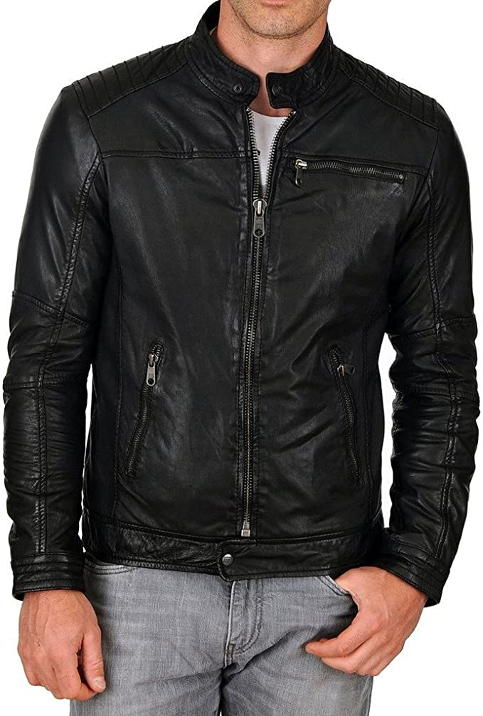 New Mens Leather Motorcycle Jacket Slim fit Leather Jacket Coat A552