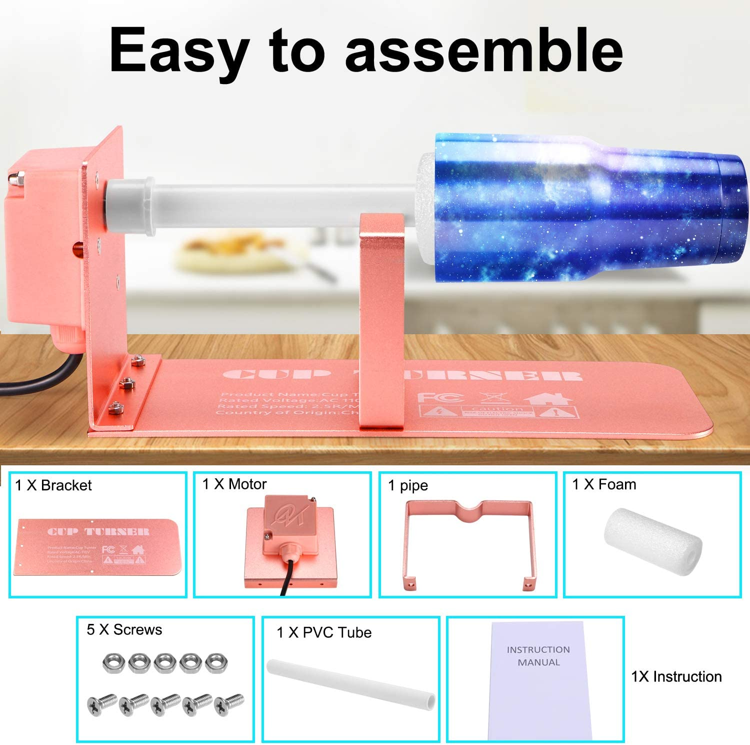 Cuptisserie Tumbler Spinner with 2-way Rotation/&Silent Rotisserie Motor,Professional Tumbler Turner Machine for DIY Glitter Epoxy Crafts Cup Turner For Crafts Tumbler Upgraded