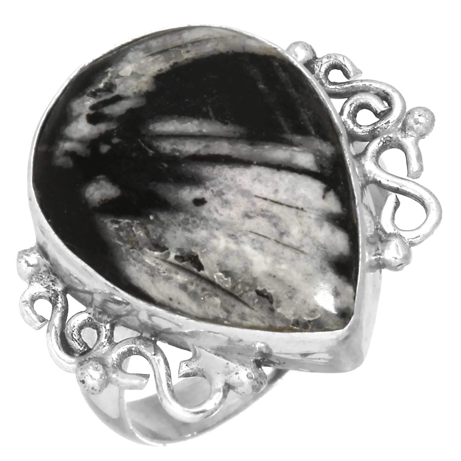 Solid 925 Sterling Silver Stylish Jewelry Natural Chrysanthemum Ring Size 7