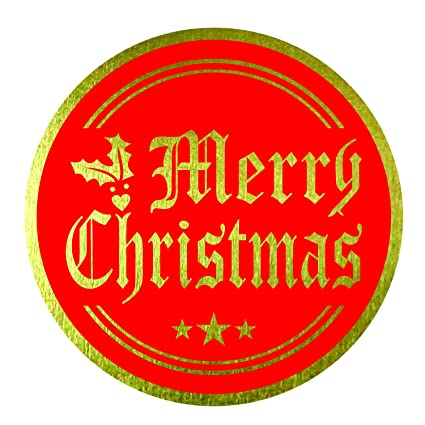 merry christmas stickers seals labels pack of 120 2 large round gold foil - Merry Christmas Stickers