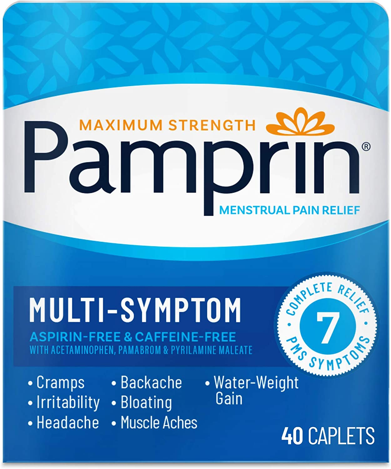 Pamprin Multi-Symptom Formula, with Acetaminophen, Menstrual Period Symptoms Relief including Cramps, Pain, and Bloating, 40 Caplets