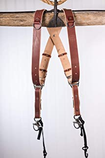 product image for HoldFast Gear MoneyMaker Two-Camera Harness without D Rings on Shoulders, Bridle Leather, Large, Chestnut