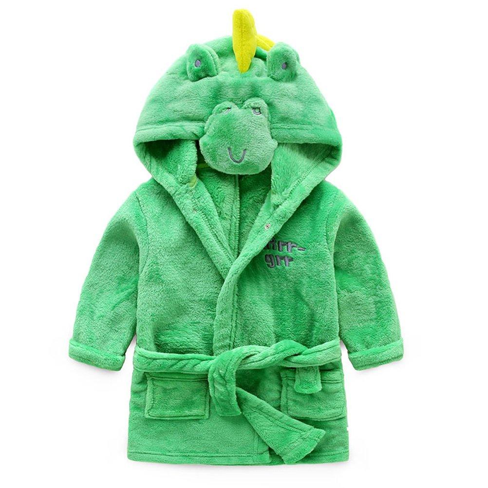 ZDUND Boys Girls Bathrobes, Toddler Kids Hooded Robe Animal Pajamas Bathrobe Sleepwear