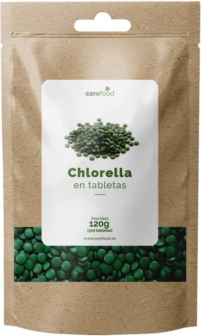 Carefood Chlorella Ecológica de pared celular rota, Vegano y libre de pesticidas y químicos, Superalimento 100% Chlorella Pyrenoidosa - 300 tabletas ...
