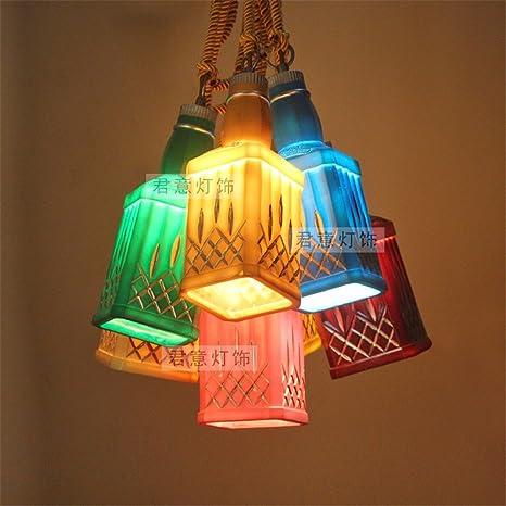 JhyQzyzqj Iluminación de techo de interior Lámparas de araña Iluminación colgante Creative Retro bar está decorado