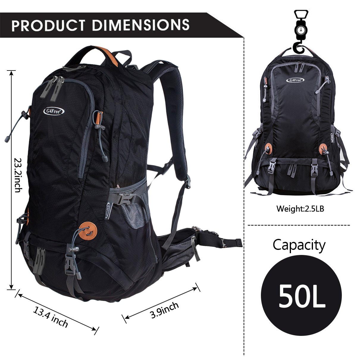 47b6cb015f G4Free 50L Outdoor Backpack Camping Climbing Hiking Backpack for Backpacker  Unisex Bag with Rain Cover(Black) - G4Free TN0152A   Internal Frame  Backpacks ...