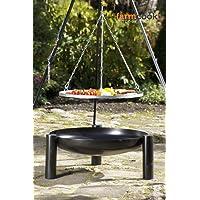 Farmcook Schwenkgrill schwarz Edelstahl XL Garten Grill-Set ✔ rund dreieckig ✔ schwenkbar ✔ Grillen mit Holzkohle ✔ mit Dreibeinen