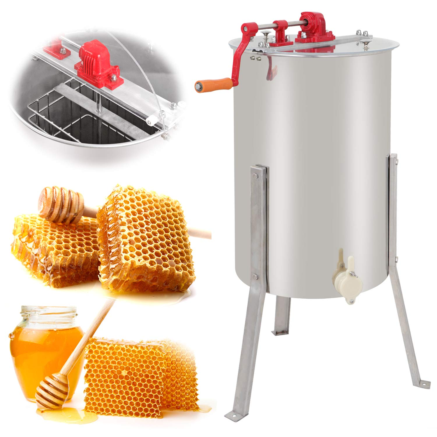SUPER DEAL Pro 2 Frame Stainless Steel Honey Extractor Beekeeping Equipment Honeycomb Drum Bee Honey Harvest by SUPER DEAL