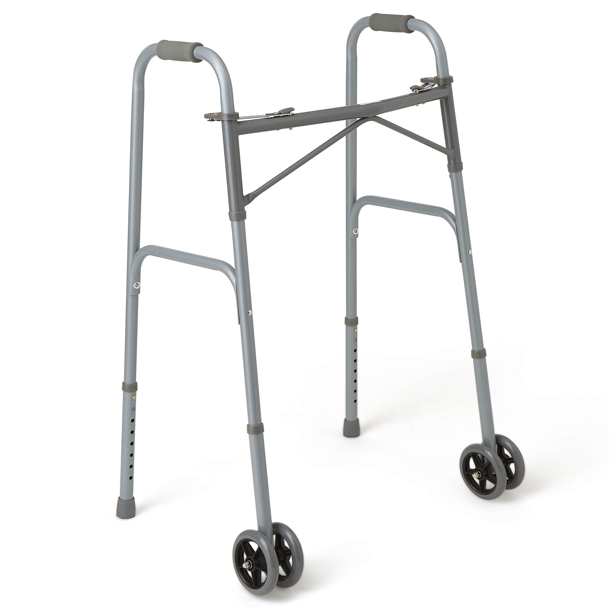 Medline Heavy Duty Bariatric Extra Wide Folding Walker wtih 5'' Wheels, Supports up to 600 lbs, Comfort Foam Hand Grips by Medline