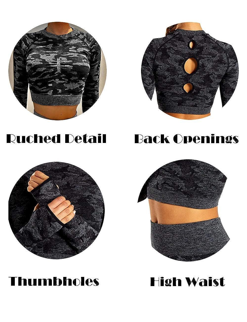 Senza Cuciture Palestra Salone RIOJOY Maglietta a Maniche Lunghe da Donna Sport Corsa Fitness Ideale per Yoga