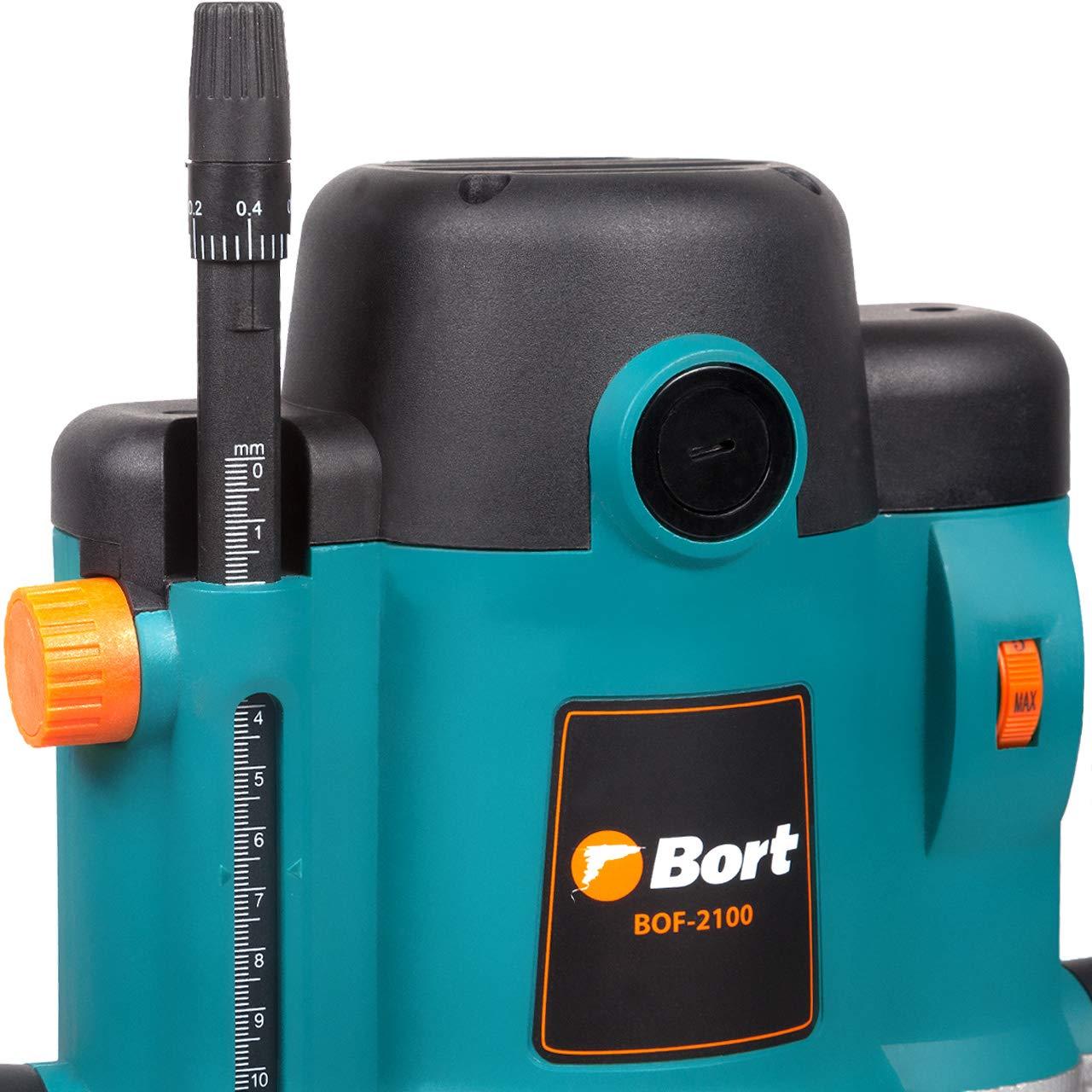 Bort BOF-2100 Fresadora 2100 W, tenazas de 8 mm de di/ámetro, 12 mm, 8000-23000 RPM, regulaci/ón de velocidad con comp/ás, tope paralelo, conexi/ón para aspiradora